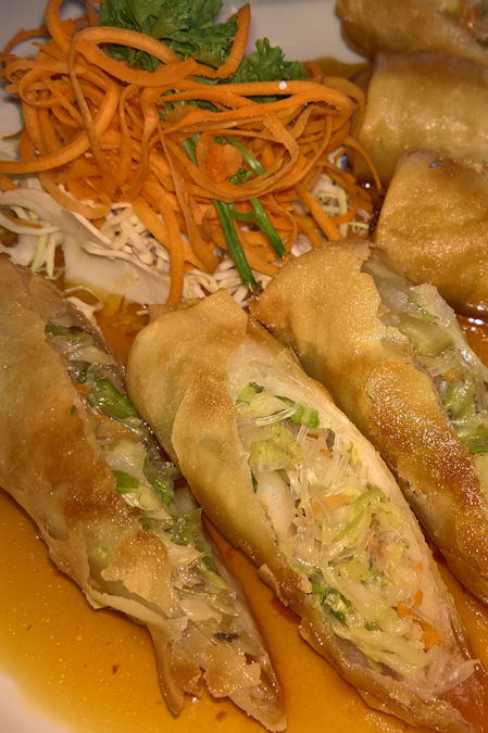 Golden fried spring rolls from Busara in the Reston (Virginia) Town Center - they taste even better than they look.
